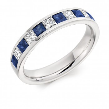 18ct White Gold Sapphire & Diamond Princess Eternity Ring