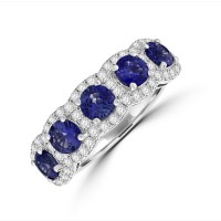 18ct White Gold Sapphire Diamond Halo Eternity Ring