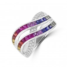 18ct White Gold 2-Row Rainbow Sapphire & Diamond Crossover Ring