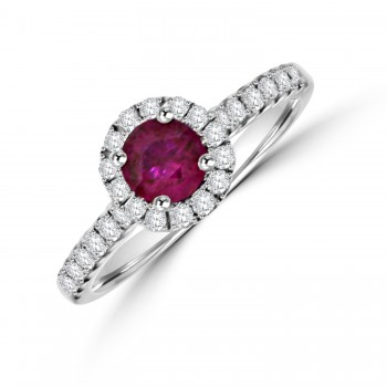 18ct White God Ruby & Diamond Halo Ring