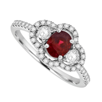 18ct White Gold 3-Stone Ruby & Diamond Pave Cluster Ring