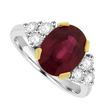 18ct White Gold Ruby Solitaire Ring with Diamond Triple Cluster