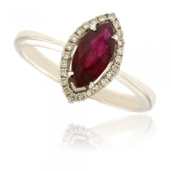 18ct White Gold Marquise cut Ruby Diamond Halo Ring