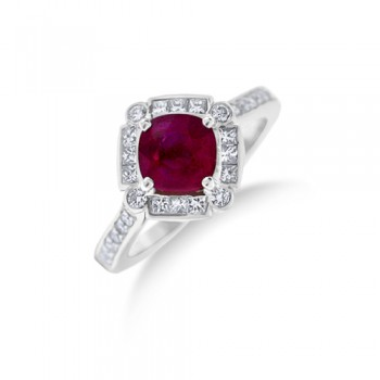 18ct White Gold Ruby & Diamond Cushion Cluster Ring