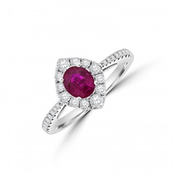 18ct White Gold Ruby & Diamond Marquise shaped Cluster Ring