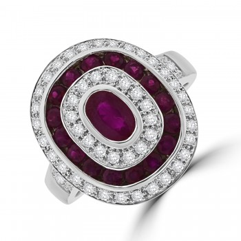 18ct White Gold Ruby & Diamond Art Deco Oval Cluster Ring