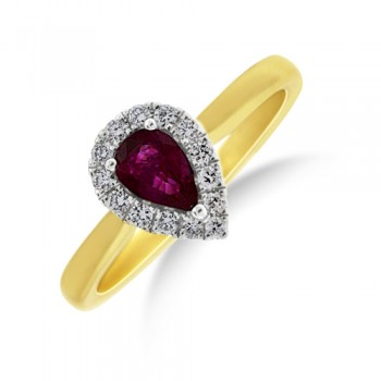 18ct Gold Pear cut Ruby Diamond Halo Ring