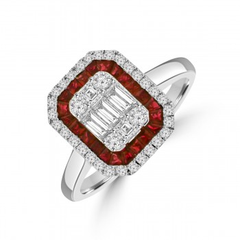 18ct White Gold Ruby & Baguette Diamond Cluster Ring