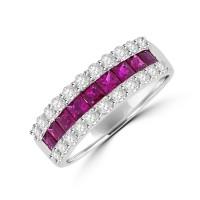 18ct White Gold Ruby and Diamond Three Row Ring.