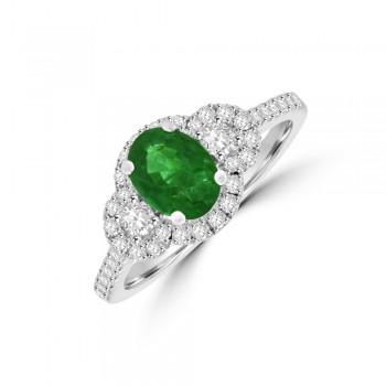 18ct White Gold Emerald & Diamond Triple Cluster Ring