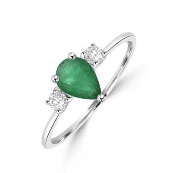 18ct White Gold Pear Emerald and Diamond Three-stone Ring