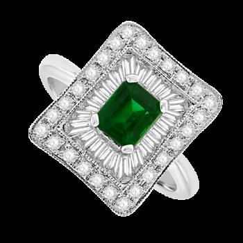 18ct White Gold Emerald & Baguette Diamond Square Cluster Ring