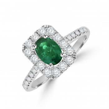 18ct White Gold Oval Emerald & Diamond Cluster Halo Ring