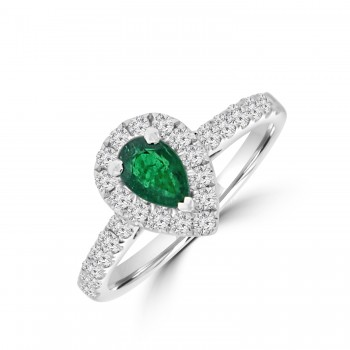 18ct White Gold Emerald & Diamond Pear Halo Ring