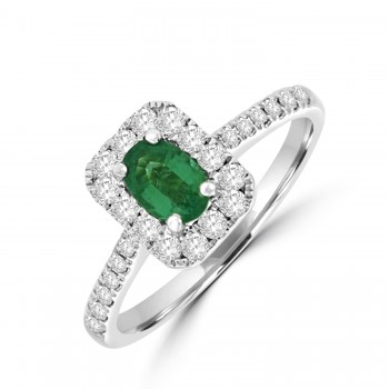 18ct White Gold .38ct Emerald and Diamond Oblong Halo Ring