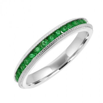 18ct White Gold Emerald Eternity Ring