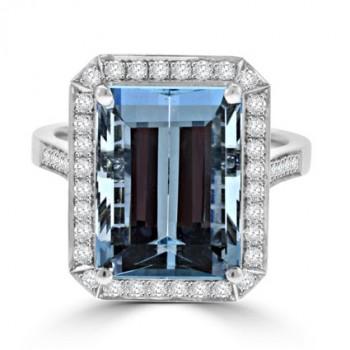 18ct White Gold Aqua & Diamond Halo Ring