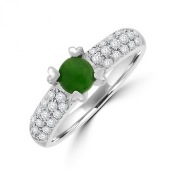 18ct White Gold Jadeite & Diamond Solitaire Ring