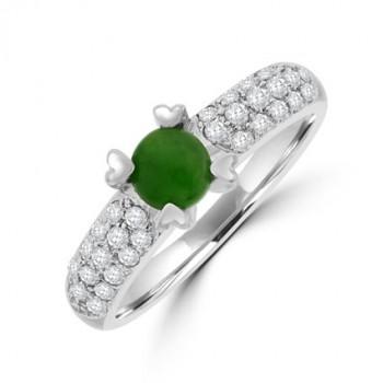 18ct White Gold Jadeite & Diamond Solitaire Ring