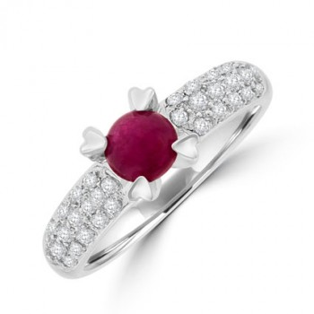 18ct White Gold Ruby & Diamond Solitaire Ring