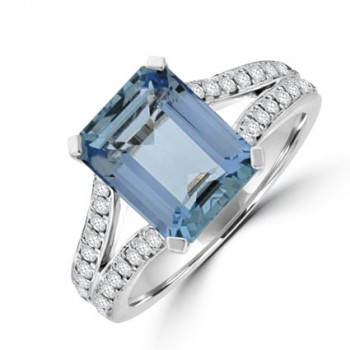 18ct White Gold Aqua & Diamond Solitaire ring