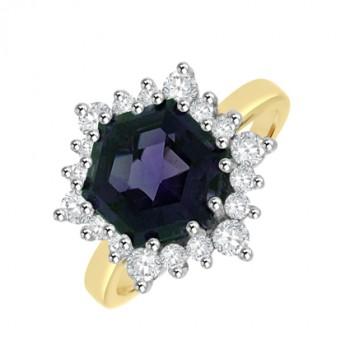 18ct Gold Amethyst & Diamond Hexagonal Cluster Ring