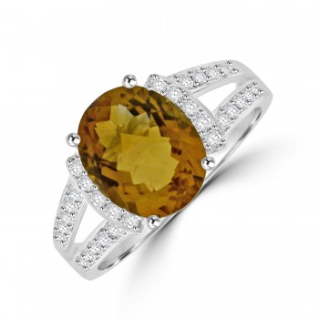 18ct White Gold Citrine & Diamond split shoulder ring