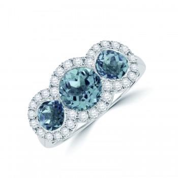 18ct White Gold Aquamarine Diamond Triple Halo Ring
