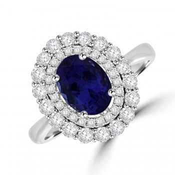 18ct White Gold Tanzanite & Diamond Double Halo Cluster Ring