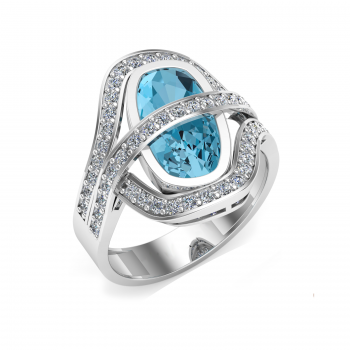 18ct White Gold Blue Topaz & Diamond Bella Ring