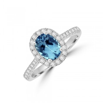 18ct White Gold Oval Aqua Diamond Halo Ring