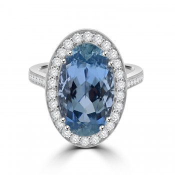18ct White Gold Oval 5.90ct Aquamarine Diamond Halo Ring