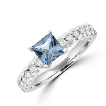 18ct White Gold Princess Aqua & Diamond Ring