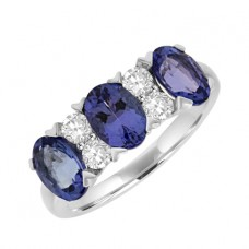 18ct White Gold 7-stone Tanzanite & Diamond Eternity Ring