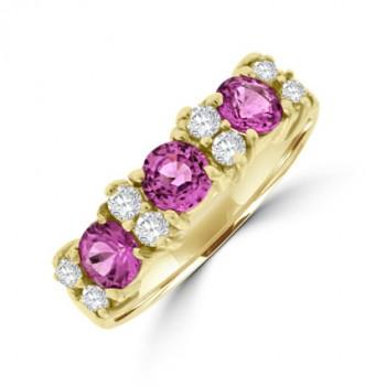 9ct Gold Pink Sapphire & Diamond Eternity Ring