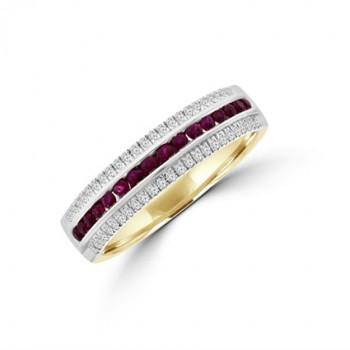 9ct Gold 3-Row Ruby & Diamond Eternity Ring