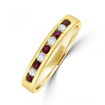 9ct Gold Ruby & Diamond Channel set Eternity Ring