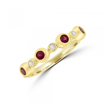9ct Gold Ruby & Diamond Bubble Eternity Ring