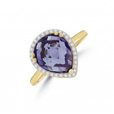 9ct Gold Amethyst Pear Diamond Halo Ring