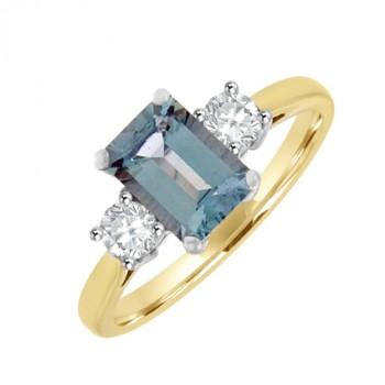 18ct Gold 3-stone Aqua & Diamond Ring