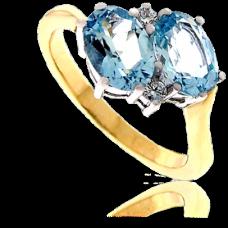 18ct Gold 4-stone Aqua & Diamond Twist Ring