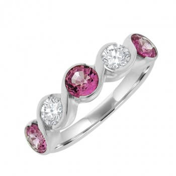 9ct White Gold 5-stone Pink Sapphire & Diamond Eternity Ring