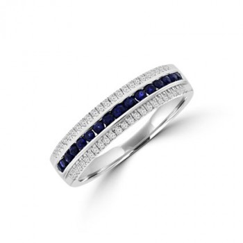 9ct White Gold 3-Row Sapphire & Diamond Eternity Ring