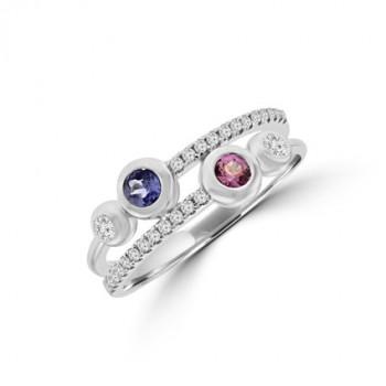 9ct White Gold Tanzanite, Pink Sapphire & Diamond Eternity Ring