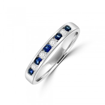 9ct WHite Gold Sapphire & Diamond Eternity Ring