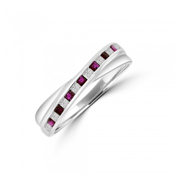 9ct White Gold Ruby & Diamond Crossover Eternity Ring