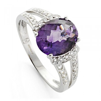 9ct White Gold Amethyst & Diamond Dress Ring