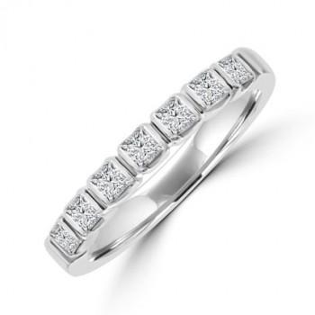 Platinum 7-stone Princess cut Diamond Bar set Eternity Ring