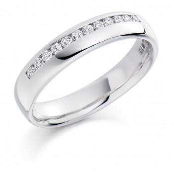 Platinum Offset Diamond Wedding Ring