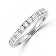 Platinum Brilliant & Baguette Diamond Channel Eternity Ring